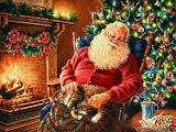 Santa Resting By Fireplace