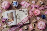 Flowers, style, petals, mug, tape, book, magnifier, scissors,