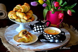 Lemon, tea, tulips, flowers, croissant, cup, pot