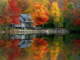 Lake house autumn wallpaper yvt2