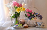 Flowers, roses, eggs, Easter, tulips, cake, daffodils