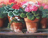 ^ Multi colored geraniums in clay pots