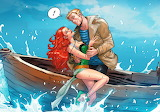 cartoon couple on a boat
