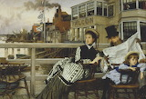 James Tissot, Waiting for the ferry outside the Falcon Inn, 1874