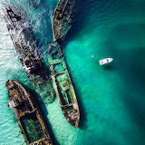 Sunken boats Moreton Island Queensland Australia