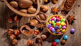Candy-nuts-and-hazelnut-chocolate-egg