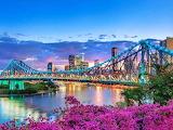 Brisbane City, river, buildings, iron bridge, sunset
