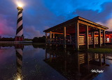 Cape Hatteras Lighthouse night after heavy rain