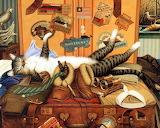 Traveling Tabby by Charles Wysocki