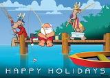 Santa Fishing W/Reindeer Happy Holidays