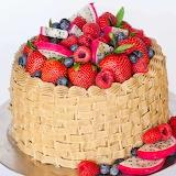 ^ Fruit-topped Basketweave cake