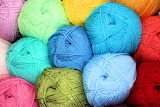 Colorful stacks of yarn