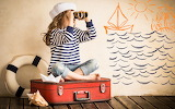 Girl, spyglasses, binoculars, suitcase, paper ship, shell, lifeb