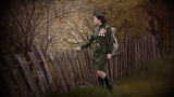 Girl, woman, medals, uniform, tunic, soldier, fence, nature, tre