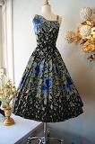 1950s Blue Rose Garden Party Dress