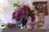 Bouquet, picture, angels, figurine, lilac
