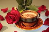 Tasse de café-rose rouge-pétales