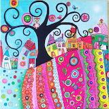 Colorful landscape - naive folk art