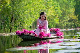 Beautiful asian girl collects lotus flowers in the boat