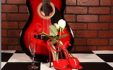 Guitar, roses, and red shoes