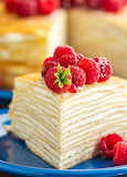 Crepe cake with raspberries