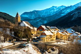 Village of Entraunes in Winter Alpes-Maritimes France