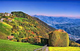 Mountains and Valley Aviatico in the Lombardy Region of Italy