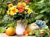 #Still Life Bouquet with Autumn Pumpkins Gourds