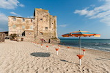 Building, ruin, beach, sand, umbrellas, sea, Tuscany