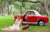 Young retro woman having a picnic