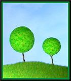 2 little trees on a little hill