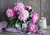 Bouquet, pitcher, peonies, flowers