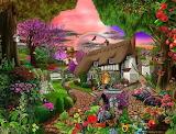 Rainbow over cottage garden - Gerald Newton