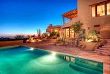 villa and pool at sunset