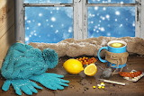 Window, still life, hat, gloves, lemon, tea cup