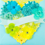 heart of aqua & yellow flowers