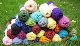 Stacks of yarn on the grass