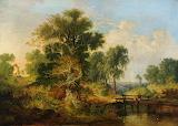 A river landscape with figures on a bridge Samuel David Colkett