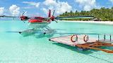 Idroplane-plane-sea-beach-island-tropical-pier-palm trees