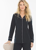 EMBRACEABLE Long Sleeve Notch Collar Pajama Top Black (2)