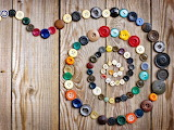 Buttons scroll colorful wooden floor