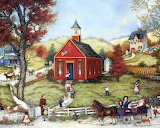 Gathering at school,Linda Nelson,Folk art