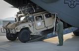 Humvee Driving off Transport Plane