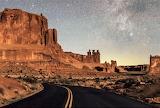 Stars over 3 Gossips rocks Arches Park Utah