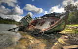 Boat Wreck on the River