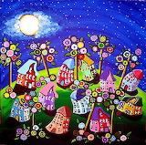 #Houses Trees Blossoms Full Moon by Renie Britenbucher