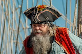 Pirate, man, beard, mustache, hat, sailing ship, ropes