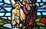 Jesus, Christ baptism stained glass