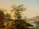 'River Landscape with Peasants on a path' by Matthijs Schoevaerd