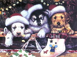 Vintage Art Dogs Funny Christmas